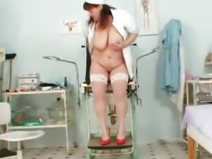 Big juggs aged wife wears practical nurse uniform and gets freaky