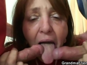 Old bitch takes two cocks in the office