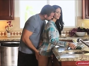 Sexy Jasmine Caro fucked  on kitchen tops and jizzed on