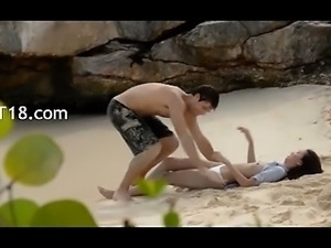 Extremely hot lovers copulating on the beach