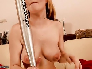 Blonde Antonya with juicy boobs parts her legs on cam with no shame