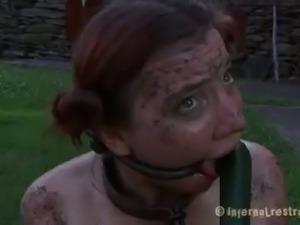 Redhead bitch gets tied up and dildoed very hard