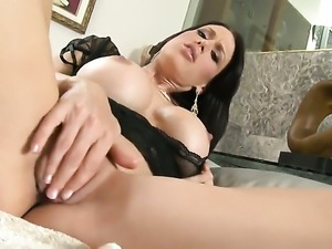 With shaved cunt finds herself horny and takes dildo in her love box with...