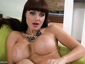 Brunette Aletta Ocean with gigantic hooters has a lot of sexual energy to...