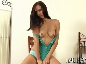 Hot darling is pleasuring her wet pussy with various toys