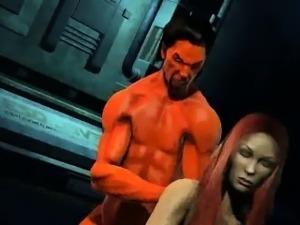 Busty 3D cartoon redhead babe fucked by Satan