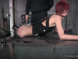 redhead restrained and whipped