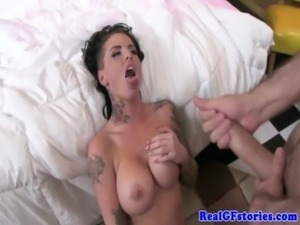 Exgf with tatts swallowing his cum free