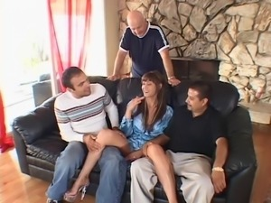 Horny brunette sucks dick and gets her pussy pounded in front of her husband