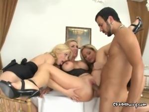 Three horny MILFS demand a  creamy cum dessert from their slave server