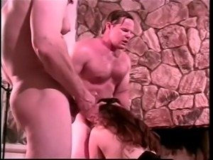 Denise Davies chubby with big natural tits threesome DP
