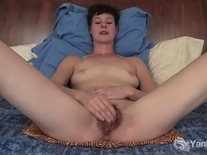 Short haired amateur girl with pierced nose Quinn masturbating her hairy...