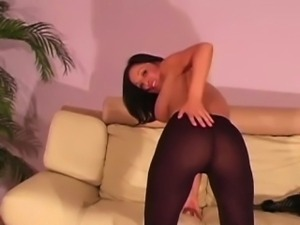 Nylon loving asian rubbing her clit