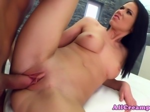 Creampie filled raven getting ravaged