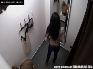 Voyeur Spycam Gorgeous Teen Brunette Fitting Lingerie free