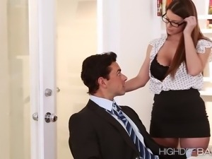 Sexy secretary Brooklyn seduces her boss and gets fucke