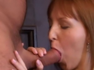 Redhead cutie begging her old man to fuck her clit