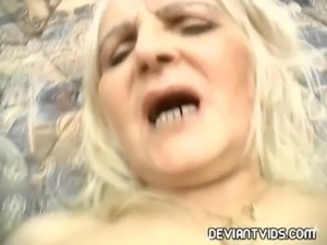 Grannies sharing a double-edged dildo free