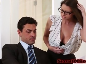Busty office stunner seducing her boss