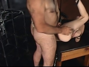 Master Len restrains a gorgeous young brunette cock sucker and fucks her