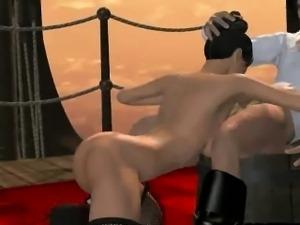 Sexy 3D cartoon babe sucks cock and gets fucked hard