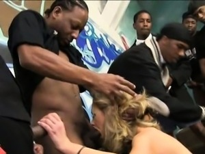 Massive boobs blondie slut Katie Kox throating black dicks