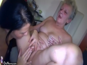 OldNanny Sexy young Girl and skinny old mature have sex with toy free