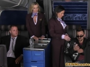 CFNM Tanya Tate joins the mile high club