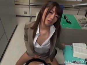 naughty japanese masturbating in the office