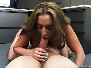 Richelle Ryan with huge melons and hairless beaver shows hardcore tricks to...