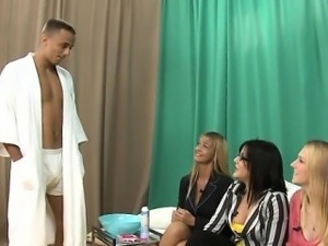 Strippers receive cocks sucked