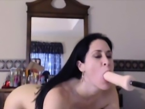 Tattooed brunette slut Veronica fuck machine
