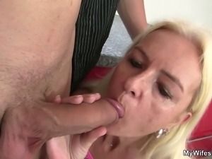 Mature blonde gets banged very hard in the kitchen