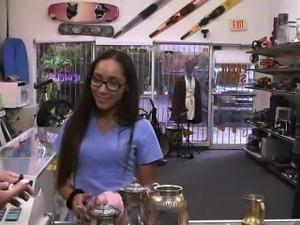 Latina gets naked and fucked at pawnshop