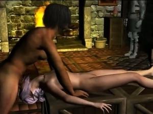 Sexy 3D cartoon elf babe sucks cock and gets fucked