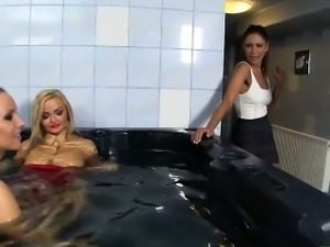 Babes get their clothes soaking wet