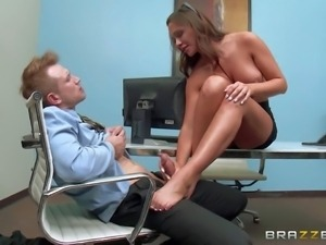 Gorgeous office babe Destiny Dixon with huge tits and round ass gives footjob...