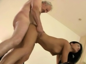 Dirty hot brunette fucking silly grandpa