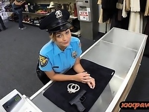 Busty lady police officer pawn her weapon and pussy for cash
