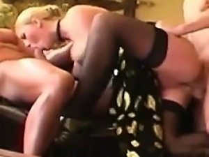Blonde Bitch In A Threesome