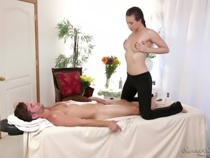 casey gives logan a hot massage and tit job