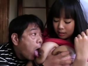 Big tit asian blows cock