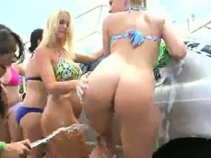 Group of college babes have a nude car wash party