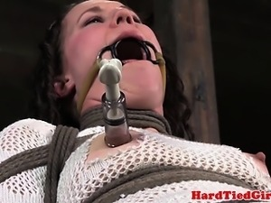 Chair tied Bonnie Day nipples and clit tormented