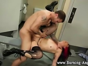 Punk bitch gets facial