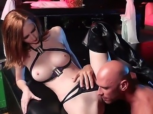 Pink pussy redhead Dee Dee Lynn gives it to Johnny Sins