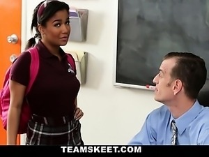 Cute horny sexy schoolgirl Loni Legend has her pussy filled
