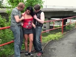 PUBLIC gangbang threesome with a teen