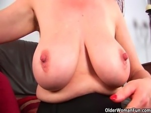 Granny Anna with her big tits finger fucks her sweet matured pussy free