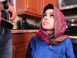 Hijab wearing muslim teen Ada creampied by her new master